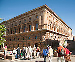 Tour group of tourists outside the Palacio de Carlos V, Palace of King Charles the Fifth, the Alhambra complex, Granada, Spain
