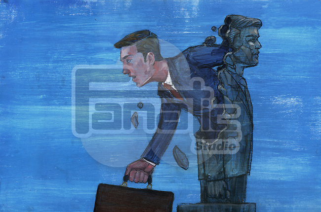 Illustrative image of businessman coming out from statue representing freedom from rules