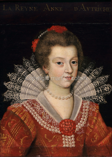 Portrait of Queen Anne of Austria, 1601-66, with a lace collar, pearl jewellery and a red embroidered dress, oil painting on canvas, c. 1625, by unknown artist, from the Gallery of portraits from the Chateau de Saint Germain-Beaupre, Creuse, now in the Musee des Beaux-Arts de la Ville de Blois, housed since 1869 on the first floor of the Louis XII wing of the Chateau Royal de Blois, built 13th - 17th century in Blois in the Loire Valley, Loir-et-Cher, Centre, France. The museum originally opened in 1850 in the Francois I wing, but moved here in 1869 after the rooms had been restored by Felix Duban in 1861-66. The chateau has 564 rooms and 75 staircases and is listed as a historic monument and UNESCO World Heritage Site. Picture by Manuel Cohen