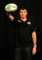 London, England. Exeter Chiefs Director of Rugby Rob Baxter poses with a match ball during the UK Heineken Cup and Amlin Challenge Cup season launch at SKY Studios on October 1, 2012 in London, England.