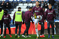 Mike van der Hoorn of Swansea City during the pre-match warm-up for the Sky Bet Championship match between Swansea City and Brentford at the Liberty Stadium in Swansea, Wales, UK. Tuesday 02 April 2019