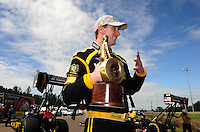 Mar. 12, 2012; Gainesville, FL, USA; NHRA top fuel dragster driver Morgan Lucas celebrates after winning the Gatornationals at Auto Plus Raceway at Gainesville. The race is being completed on Monday after rain on Sunday. Mandatory Credit: Mark J. Rebilas-