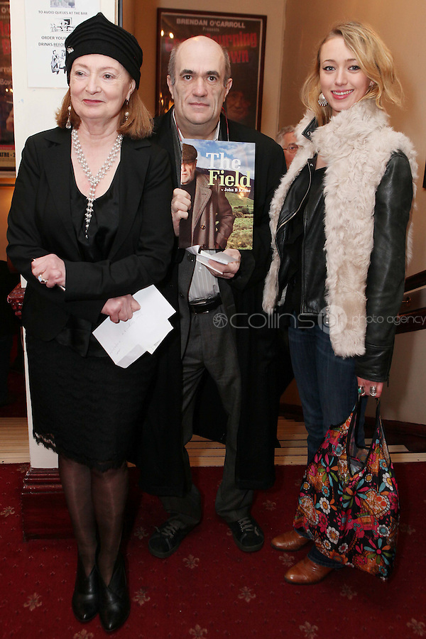 "NO REPRO FEE. 17/1/2010. The Field opening night. Joan Bergin, Colm Tobin and Rosin Agnew are pictured at the Olympia Theatre for the opening night of John B Keanes 'The Field"" Picture James Horan/Collins"