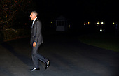 United States President Barack Obama returns to the White House on October 28, 2016 in Washington, DC. Obama traveled to Florida in the afternoon to campaign for Democratic presidential candidate Hillary Clinton. <br /> Credit: Olivier Douliery / Pool via CNP