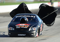 Sept 8, 2012; Clermont, IN, USA: NHRA pro stock driver Erica Enders during qualifying for the US Nationals at Lucas Oil Raceway. Mandatory Credit: Mark J. Rebilas-