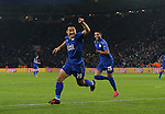 Leicester's Shinji Okazaki celebrates scoring his sides opening goal during the Champions League group B match at the King Power Stadium, Leicester. Picture date November 22nd, 2016 Pic David Klein/Sportimage