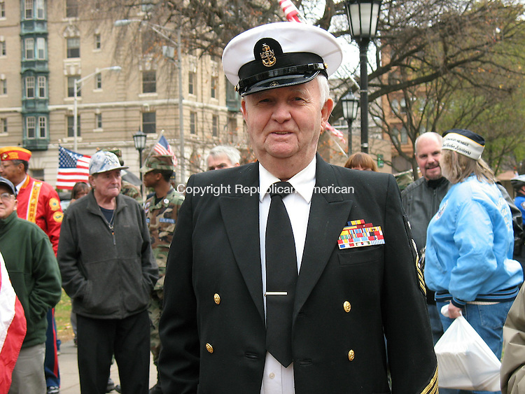 WATERBURY, CT - 12 November 2009 - 111109RA01 - U.S. Navy veteran John Parsons, 83, at the Veterans Day observance Wednesday on the Waterbury Green. Parsons served in World War II and the Korean War. The Boston native is a resident at Village at East Farms in Waterbury.
