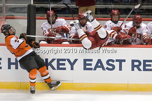 Chris Haltigin (RIT - 24), Brandon Vossberg (Denver - 27), Kyle Ostrow (Denver - 19), Rhett Rakhshani (Denver - 9), ?, Jesse Martin (Denver - 14) - The Rochester Institute of Technology (RIT) Tigers defeated the Denver University Pioneers 2-1 on Friday, March 26, 2010, in their NCAA East Regional semi-final at the Times Union Center in Albany, New York.