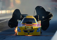 Sept 8, 2012; Clermont, IN, USA: NHRA funny car driver Bob Bode has a fire during qualifying for the US Nationals at Lucas Oil Raceway. Mandatory Credit: Mark J. Rebilas-