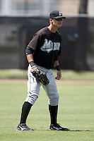 July 11, 2009:  Left fielder Thomas Hickman of the GCL Marlins during a game at Osceola County Complex in Kissimmee, FL.  The GCL Marlins are the Gulf Coast Rookie League affiliate of the Florida Marlins.  Photo By Mike Janes/Four Seam Images