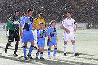 Wycombe captain, David McCracken leads out his team onto the pitch with the two mascots ahead of kick-off during Wycombe Wanderers vs Macclesfield Town, Coca Cola League Division Two Football at Adams Park on 28th October 2008