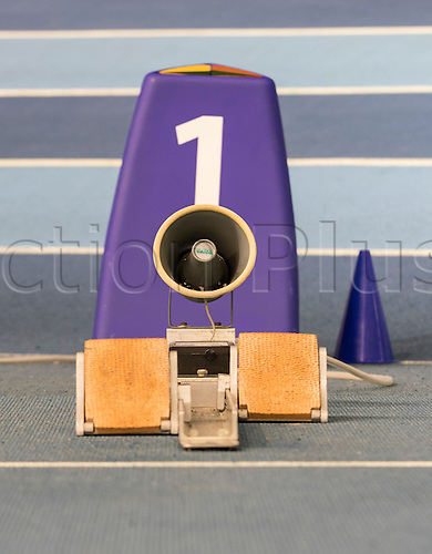 28.02.2016. EIS Sheffield, Sheffield, England. British Indoor Athletics Championships Day Two. General view of the Lane One starting block on the Indoor Athletics Track, English Institute of Sport.