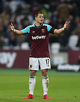 West Ham United's Javier Hernandez<br /> <br /> Photographer Rob Newell/CameraSport<br /> <br /> The Premier League - West Ham United v Watford - Saturday 10th February 2018 - London Stadium - London<br /> <br /> World Copyright &copy; 2018 CameraSport. All rights reserved. 43 Linden Ave. Countesthorpe. Leicester. England. LE8 5PG - Tel: +44 (0) 116 277 4147 - admin@camerasport.com - www.camerasport.com