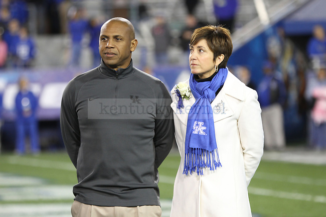 Joker Phillips during the senior recognition at the UK vs Samford at Commonwealth Stadium in Lexington, Ky., on Saturday, November 17th, 2012. Photo by Logan Douglas | Staff.