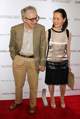 NEW YORK, NY - JULY 17: Woody Allen and Soon Yi at the 'Magic In The Moonlight' premiere at the Paris Theater on July 17, 2014 in New York City. Credit: RW/MediaPunch