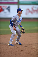 Burlington Royals third baseman Jake Means (9) in action during a game with the Bristol Pirates at Boyce Cox Field on June 19, 2019 in Bristol, Virginia. The Royals defeated the Pirates 1-0. (Tracy Proffitt/Four Seam Images)