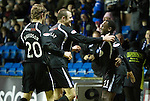Kilmarnock v St Johnstone....15.01.11  .Cleveland Taylor celebrates his goal with Dave Mackay and Murray Davidson..Picture by Graeme Hart..Copyright Perthshire Picture Agency.Tel: 01738 623350  Mobile: 07990 594431