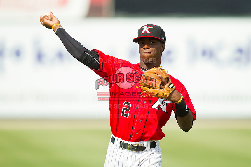 Tim Anderson (2) of the Kannapolis Intimidators warms up in the outfield prior to the game against the Greenville Drive at CMC-Northeast Stadium on June 29, 2013 in Kannapolis, North Carolina.  The Intimidators defeated the Drive 9-3 in the completion of the game that began on June 28, 2013.   (Brian Westerholt/Four Seam Images)