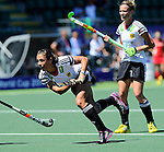 The Hague, Netherlands, June 13: Tina Bachmann #2 of Germany tries to score a penalty corner during the field hockey placement match (Women - Place 7th/8th) between Korea and Germany on June 13, 2014 during the World Cup 2014 at Kyocera Stadium in The Hague, Netherlands. Final score 4-2 (2-0)  (Photo by Dirk Markgraf / www.265-images.com) *** Local caption ***