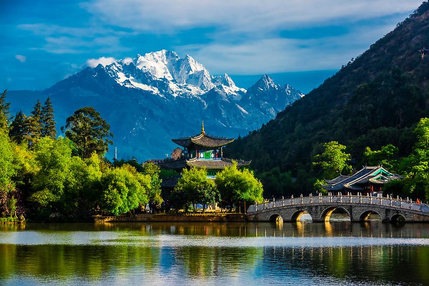 Black Dragon Pool with the Jade Dragon Snow Mountain behind, Lijiang, Yunnan Province, China.