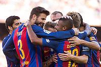 FC Barcelona's Rafinha Alcantara and Gerard Pique  during the La Liga match between Futbol Club Barcelona and Deportivo de la Coruna at Camp Nou Stadium Spain. October 15, 2016. (ALTERPHOTOS/Rodrigo Jimenez) NORTEPHOTO.COM