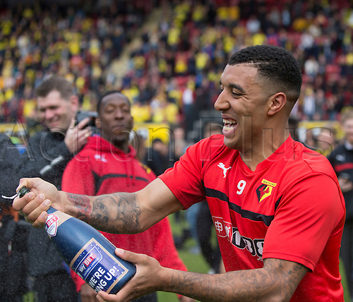 02.05.2015.  Watford, England. Skybet Championship. Watford versus Sheffield Wednesday. Watford's Troy Deeney celebrates at the final whistle as they are promoted in 2nd place.