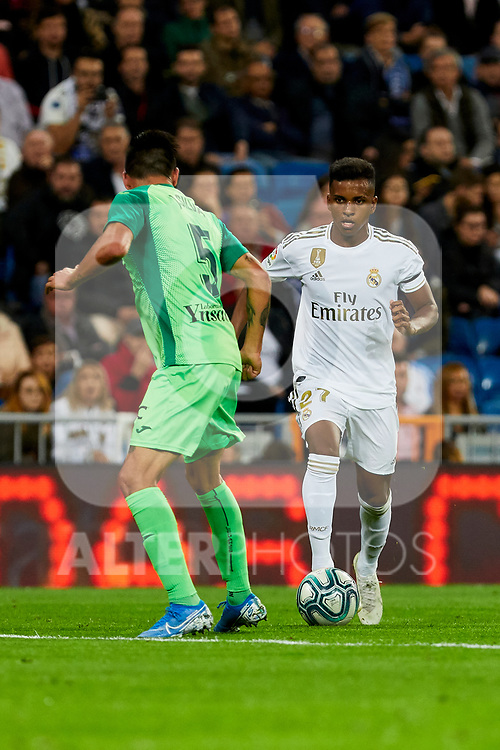 Rodrygo Goes of Real Madrid and Jonathan Silva of CD Leganes during La Liga match between Real Madrid and CD Leganes at Santiago Bernabeu Stadium in Madrid, Spain. October 30, 2019. (ALTERPHOTOS/A. Perez Meca)