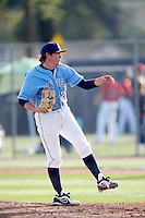P. J. Conlon #29 of the University of San Diego Toreros pitches against the Cal State Northridge Matadors at Matador Field on March 26, 2013 in Northridge, California. (Larry Goren/Four Seam Images)