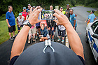 August 21, 2017; ND Trail day 8: An Indiana State Trooper takes a group photo near Logansport, IN. (Photo by Matt Cashore/University of Notre Dame)
