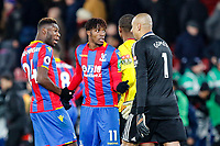 Wilfried Zaha of Crystal Palace complains to players and officials at half time during the Premier League match between Crystal Palace and Watford at Selhurst Park, London, England on 12 December 2017. Photo by Carlton Myrie / PRiME Media Images.