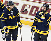 Jonathan Lashyn (Merrimack - 7), Clayton Jardine (Merrimack - 21) - The Boston College Eagles defeated the visiting Merrimack College Warriors 2-1 on Wednesday, January 21, 2015, at Kelley Rink in Conte Forum in Chestnut Hill, Massachusetts.