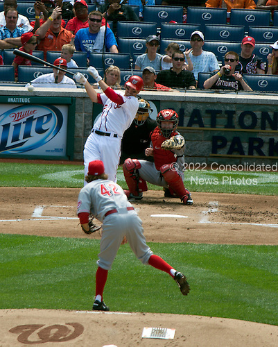 Washington Nationals first baseman Adam LaRoche (25) bats in the second inning against the Cincinnati Reds at Nationals Park in Washington, D.C. on Sunday, April 15, 2012.  All of the Reds and Nationals players are wearing number 42 in honor of Jackie Robinson Day..Credit: Ron Sachs / CNP
