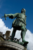 Statue of Jean de Beaumanoir in Dinan, Brittany, France.