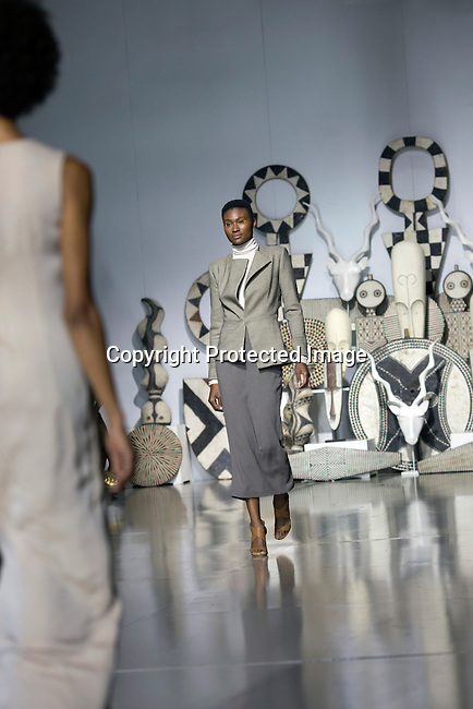 JOHANNESBURG, SOUTH AFRICA - MARCH 11: A model walks for the designer label Mille Collines during a show at Johannesburg Fashion Week week on March 11, 2016, at Nelson Mandela Square Johannesburg, South Africa. (Photo by: Per-Anders Pettersson)