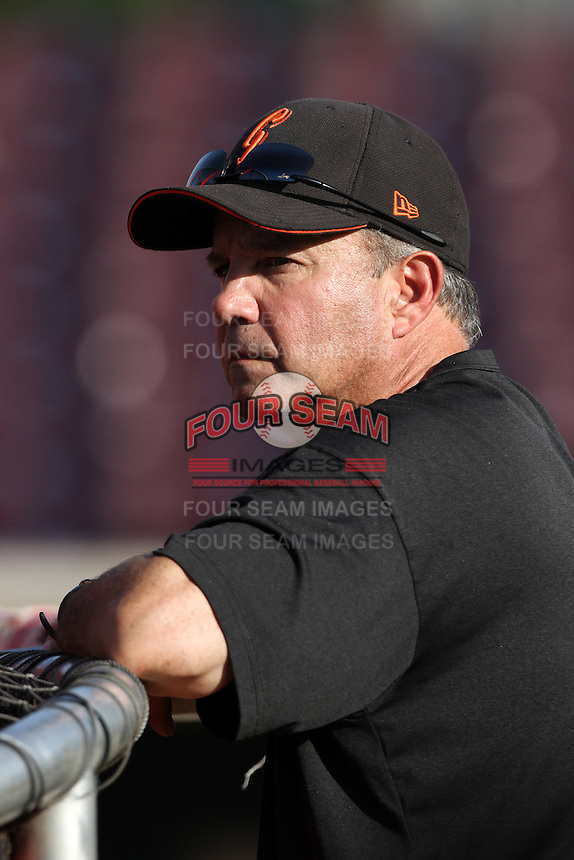 San Jose Giants Manager Andy Skeels #15 before a game against the Inland Empire 66'ers at San Manuel Stadium on June 11, 2012 in San Bernardino,California.Inland Empire defeated San Jose 12-8.(Larry Goren/Four Seam Images)