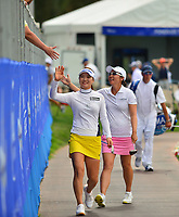 So Yeon Ryu of Korea and Candie Kung of Taiwan on the champions walk making there way tho the 18th green, during the final round of the ANA Inspiration at the Mission Hills Country Club in Palm Desert, California, USA. 4/1/18.<br /> <br /> Picture: Golffile | Bruce Sherwood<br /> <br /> <br /> All photo usage must carry mandatory copyright credit (&copy; Golffile | Bruce Sherwood)