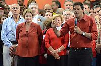 ATENCAO EDITOR IMAGEM EMBARGADA PARA VEICULOS INTERNACIONAIS - SAO PAULO, SP, 20 OUTUBRO 2012 - ELEICOES 2012 - FERNANDO HADDAD - O candidato a prefeitura pelo Partido dos Trabalhadores Fernando Haddad durante comício com presenca presidente da Republica Dilma Rousseff e o ex presidente Luiz Inacio Lula da Silva no Ginasio do Caninde na regiao norte da capital paulista, neste sábado, 20. (FOTO: ALEXANDRE MOREIRA / BRAZIL PHOTO PRESS).