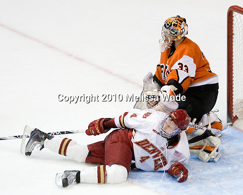 Matt Donovan (Denver - 4), Jared DeMichiel (RIT - 33) - The Rochester Institute of Technology (RIT) Tigers defeated the Denver University Pioneers 2-1 on Friday, March 26, 2010, in their NCAA East Regional semi-final at the Times Union Center in Albany, New York.
