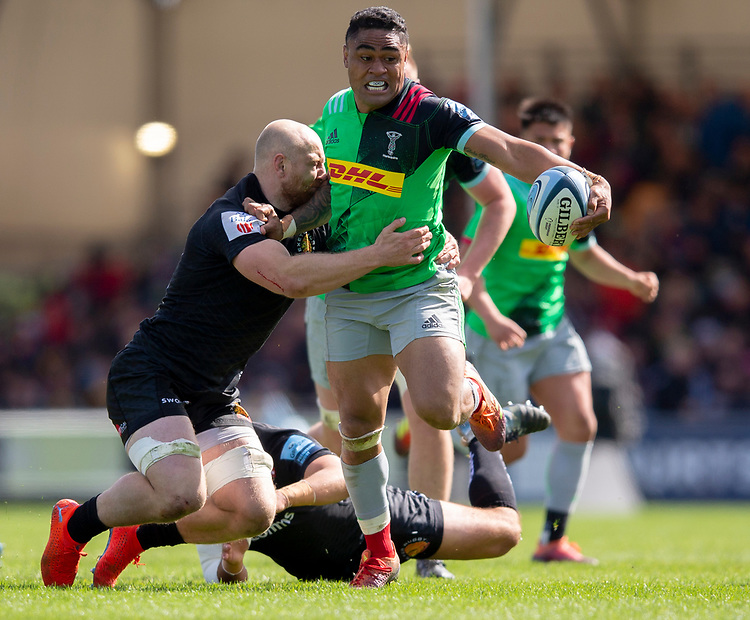 Harlequins' Francis Saili in action during todays match<br /> <br /> Photographer Bob Bradford/CameraSport<br /> <br /> Gallagher Premiership - Exeter Chiefs v Harlequins - Saturday 27th April 2019 - Sandy Park - Exeter<br /> <br /> World Copyright © 2019 CameraSport. All rights reserved. 43 Linden Ave. Countesthorpe. Leicester. England. LE8 5PG - Tel: +44 (0) 116 277 4147 - admin@camerasport.com - www.camerasport.com