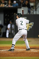 Siena Saints right fielder Zach Durfee (2) at bat during a game against the UCF Knights on February 17, 2017 at UCF Baseball Complex in Orlando, Florida.  UCF defeated Siena 17-6.  (Mike Janes/Four Seam Images)