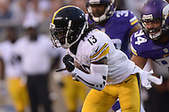 Canton, Ohio - August 9, 2015: #13 Dri Archer of the Pittsburgh Steelers runs the ball during a preseason game against the Minnesota Vikings at the Hall of Fame Stadium in Canton, Ohio, August 9, 2015.  (Photo by Don Baxter/Media Images International)