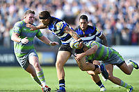 Matt Banahan of Bath Rugby takes on the Newcastle Falcons defence. Aviva Premiership match, between Bath Rugby and Newcastle Falcons on September 23, 2017 at the Recreation Ground in Bath, England. Photo by: Patrick Khachfe / Onside Images