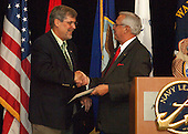 Arlington, VA - June 13, 2009 -- The Navy League of the United States presents Captain Richard Phillips with the Admiral Arleigh Burke Leadership Award, at the Westin Arlington Gateway on Saturday, June 13, 2009. Phillips was the master of the container ship MV Maersk Alabama when Somali pirates hijacked it on April 8, 2009. Concerned for his crew, Captain Phillips offered himself up to the pirates as a hostage in return for their release. On April 12, 2009, U.S. naval forces, including Navy SEALs, rescued Phillips from a one of the Maersk's lifeboats as the pirates attempted to escape..Mandatory Credit: Andrew Geraci - U.S. Navy via CNP