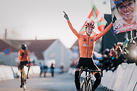Inge van der Heijden (NED) surprisingly finishing 1st and thus becoming the new U23 World Champion<br /> <br /> Women&rsquo;s U23 race<br /> <br /> UCI 2019 Cyclocross World Championships<br /> Bogense / Denmark<br /> <br /> &copy;kramon