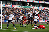9th September 2017, Macron Stadium, Bolton, England; EFL Championship football, Bolton Wanderers versus Middlesbrough; Ben Gibson rises above the Bolton defence to fire in a header from a Middlesbrough corner