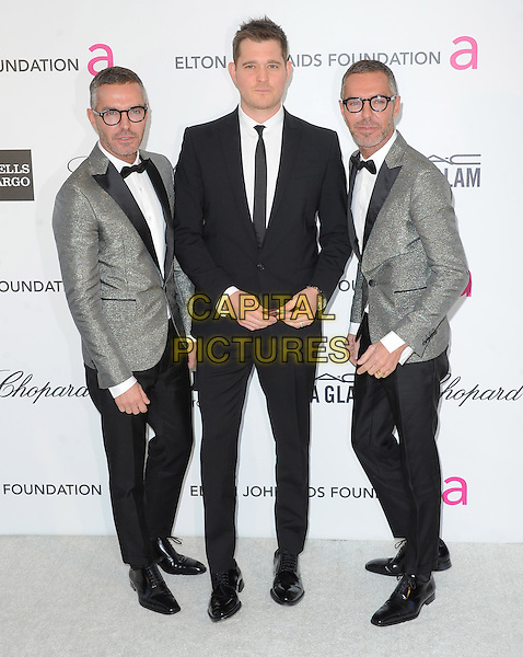 DSquared (Dean and Dan Caten) & Michael Buble.The 21st Annual Elton John AIDS Foundation Academy Awards Viewing Party held at The City of West Hollywood Park in West Hollywood, California, USA..February 24th, 2013.oscars full length grey gray suit glasses twins brothers siblings family black white bow tie tuxedo .CAP/DVS.©DVS/Capital Pictures.
