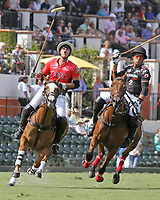 WELLINGTON, FL - MARCH 12:  Gonzalito Pieres of Audi (Red) misses his shot on goal as Orchard Hill defeats Audi 9-8, in the early rounds of the 26 goal USPA Gold Cup at the International Polo Club, Palm Beach on March 12, 2017 in Wellington, Florida. (Photo by Liz Lamont/Eclipse Sportswire/Getty Images)