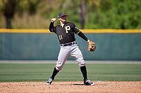 Pittsburgh Pirates Jesse Medrano (51) during a minor league Spring Training game against the Atlanta Braves on March 13, 2018 at Pirate City in Bradenton, Florida.  (Mike Janes/Four Seam Images)