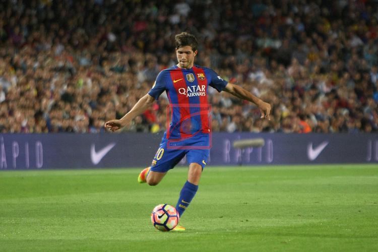 League Santander 2016/2017. Game: 5.<br /> FC Barcelona vs Atletico de Madrid: 1-1.<br /> Sergi Roberto.