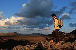 Trous en entonnoirs protegeant les vignes de la geria. Ce paysage est classe patrimoine mondial de l humanite par l Unesco. Ile de Lanzarote.